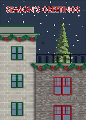 City Building Christmas Card (Glossy White)
