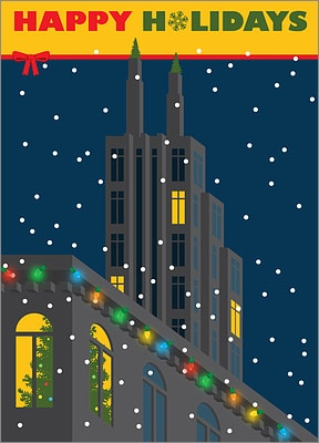Holiday Card With Buildings (Glossy White)