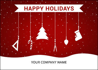 Architects Ornaments Holiday Card (Glossy White)