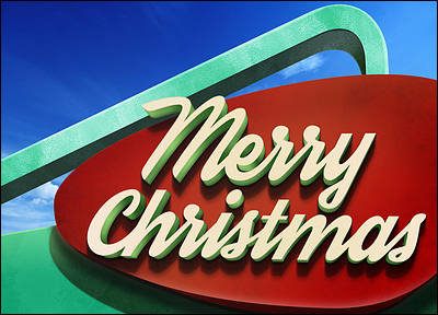 Googie Christmas Sign (Glossy White)